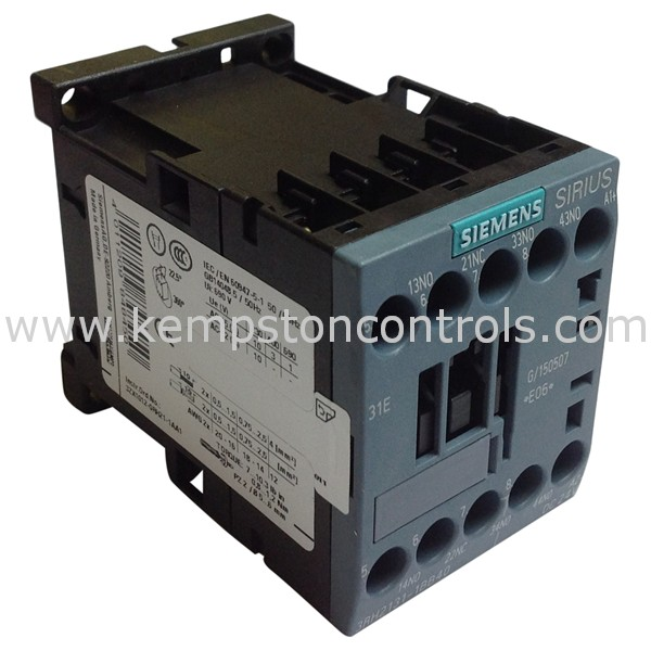 Siemens - 3RH2131-1BB40 CONTACTOR RELAY, 3NO+1NC, 24VDC, SIZE S00, SCREW  TERMINAL