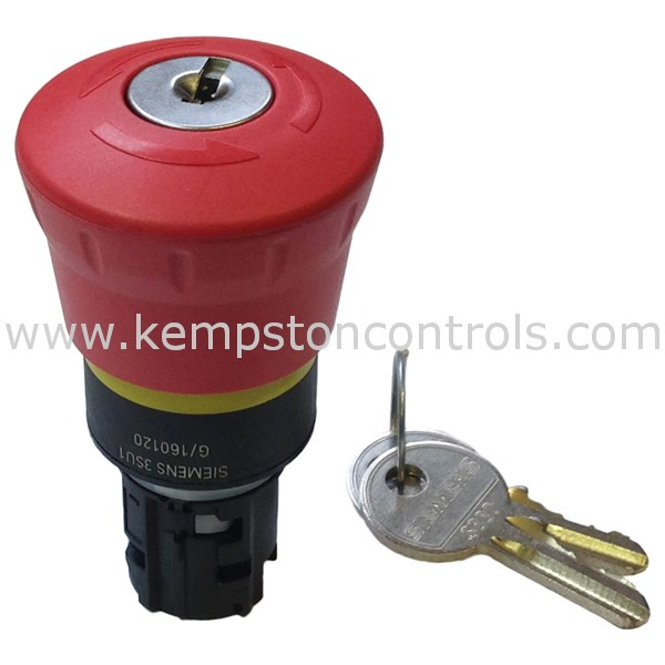 Siemens - 3SU1000-1HF20-0AA0 EMERGENCY STOP MUSHROOM PUSHBUTTON, 22 MM,  ROUND, PLASTIC, RED, 40 MM, WITH RONIS LOCK, LOCK NUMBER SB30, POSITIVE