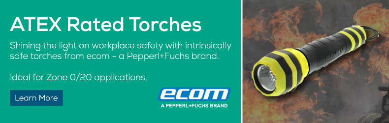 Shining the light on workplace safety with intrinsically safe torches from ecom - a Pepperl+Fuchs brand.
